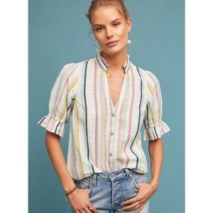 Anthropologie Maeve Alisa Striped Button Down Top
